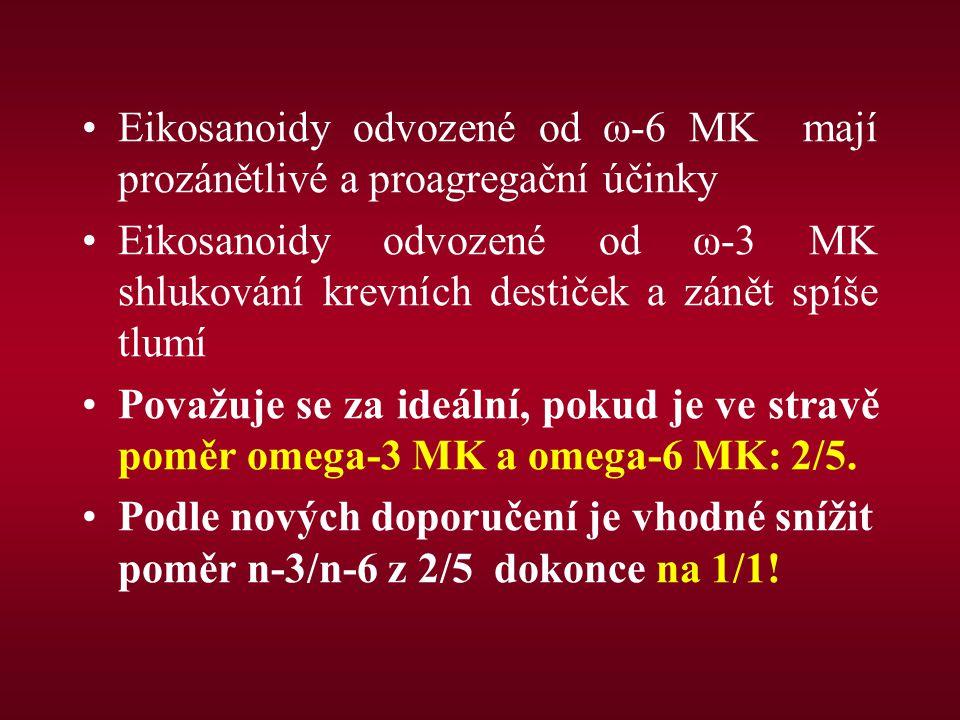 Eikosanoidy odvozené od ω-6 MK mají prozánětlivé a proagregační účinky Eikosanoidy odvozené od ω-3 MK shlukování krevních destiček a zánět spíše tlumí