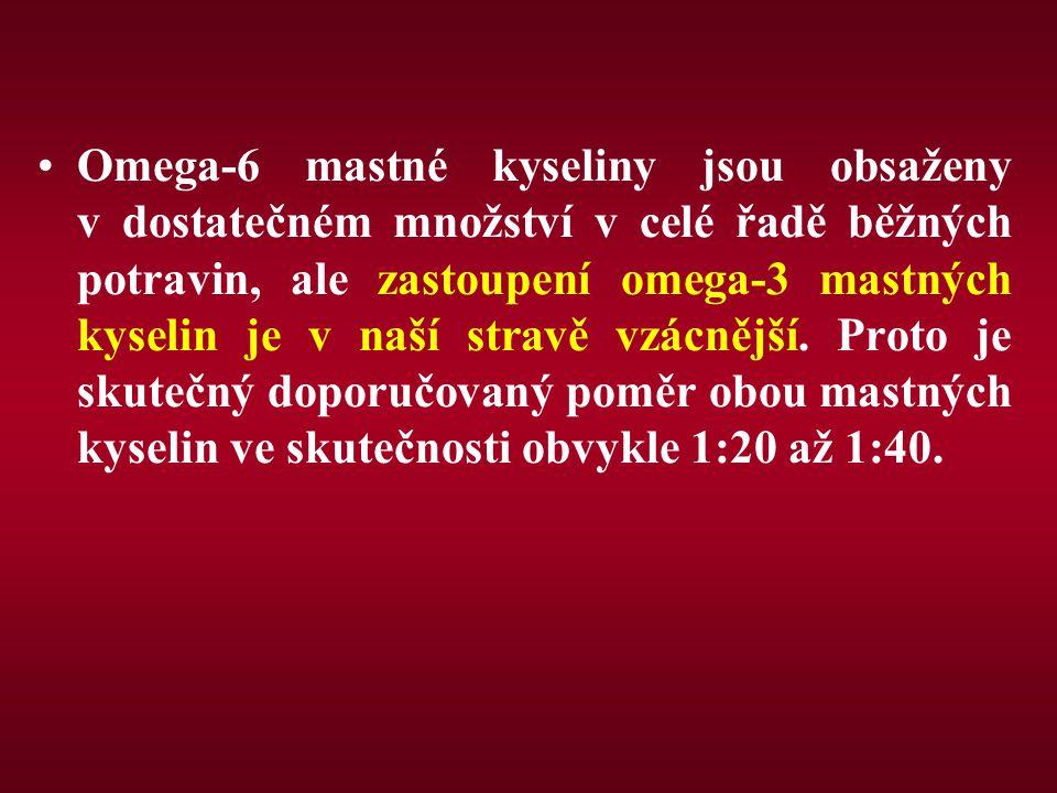 Omega-6 mastné kyseliny jsou obsaženy v dostatečném množství v celé řadě běžných potravin, ale zastoupení omega-3 mastných kyselin je v naší stravě vz