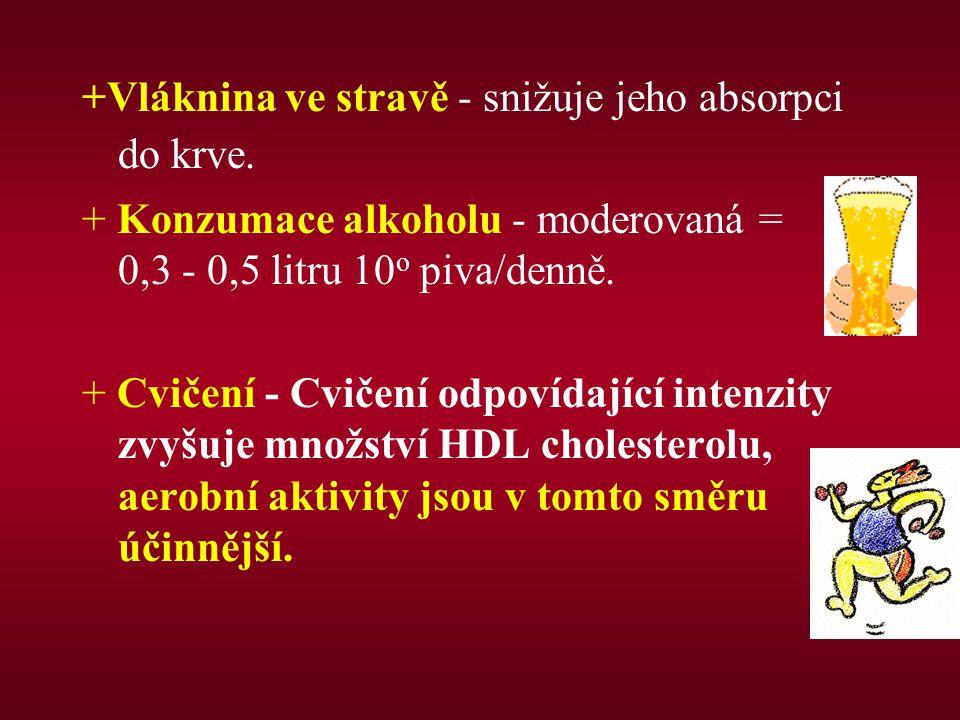 +Vláknina ve stravě - snižuje jeho absorpci do krve. + Konzumace alkoholu - moderovaná = 0,3 - 0,5 litru 10 o piva/denně. + Cvičení - Cvičení odpovída