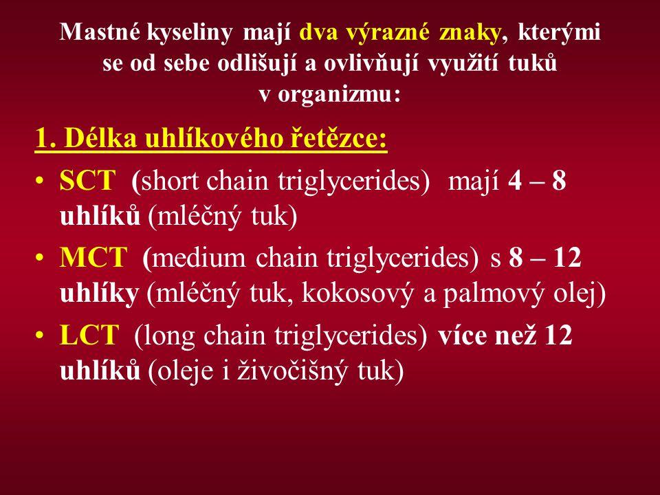 Mastné kyseliny mají dva výrazné znaky, kterými se od sebe odlišují a ovlivňují využití tuků v organizmu: 1. Délka uhlíkového řetězce: SCT (short chai