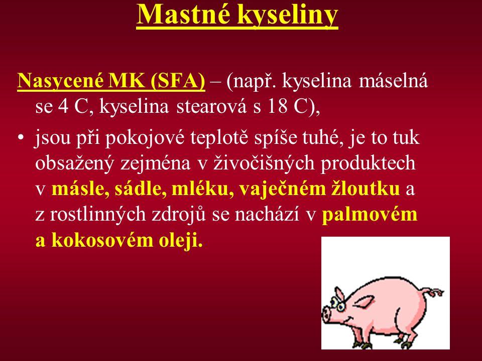Mastné kyseliny Nasycené MK (SFA) – (např. kyselina máselná se 4 C, kyselina stearová s 18 C), jsou při pokojové teplotě spíše tuhé, je to tuk obsažen