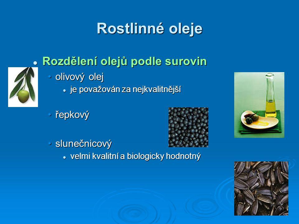 Rostlinné oleje Rozdělení olejů podle surovin Rozdělení olejů podle surovin olivový olejolivový olej je považován za nejkvalitnější je považován za ne