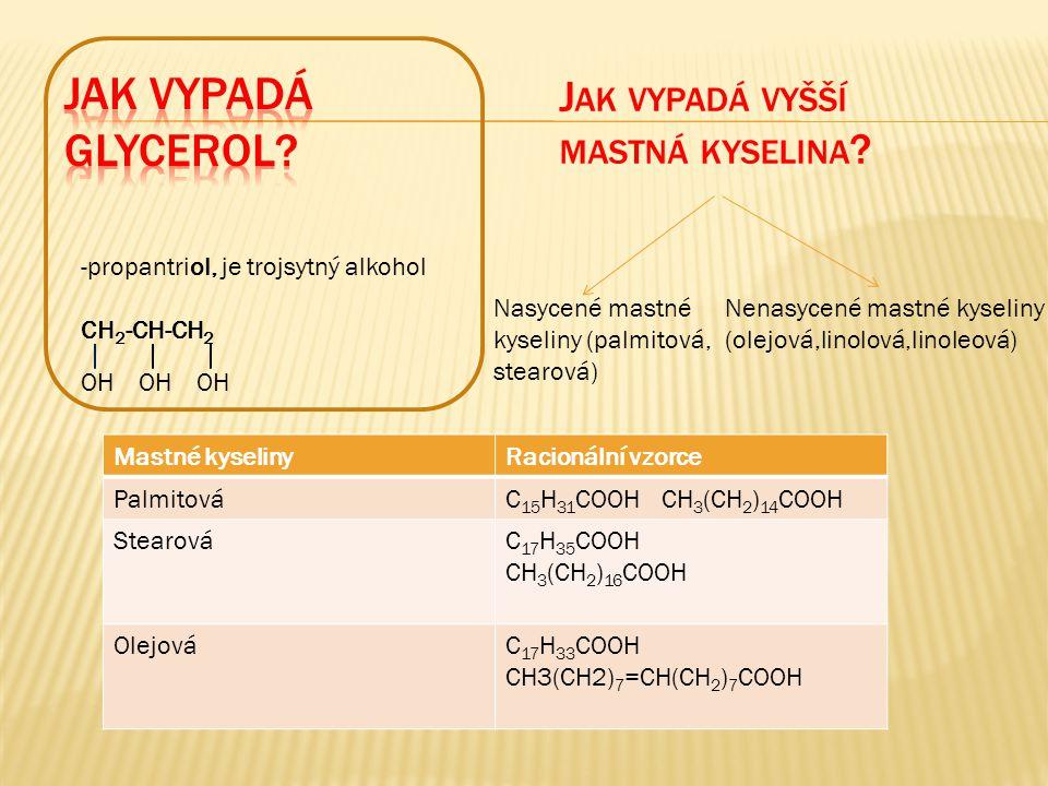 J AK VYPADÁ VYŠŠÍ MASTNÁ KYSELINA ? Nasycené mastné kyseliny (palmitová, stearová) Nenasycené mastné kyseliny (olejová,linolová,linoleová) -propantrio