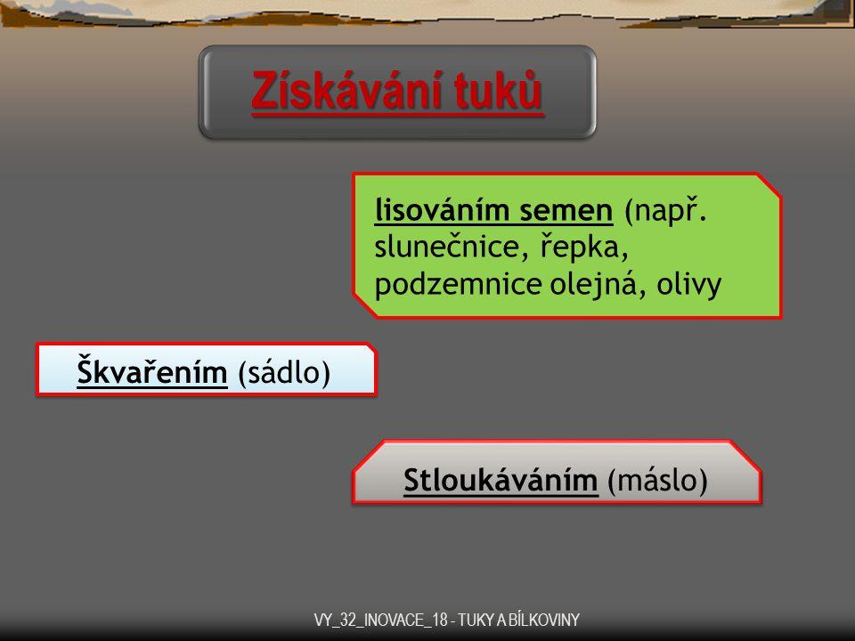 Získávání tuků lisováním semen (např. slunečnice, řepka, podzemnice olejná, olivy Škvařením (sádlo) Stloukáváním (máslo) VY_32_INOVACE_18 - TUKY A BÍL