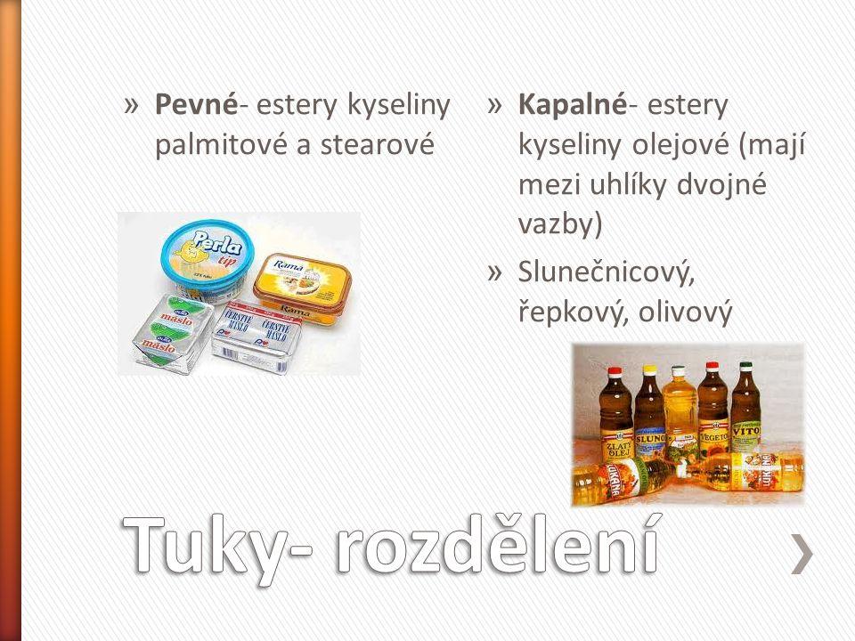 » Pevné- estery kyseliny palmitové a stearové » Kapalné- estery kyseliny olejové (mají mezi uhlíky dvojné vazby) » Slunečnicový, řepkový, olivový