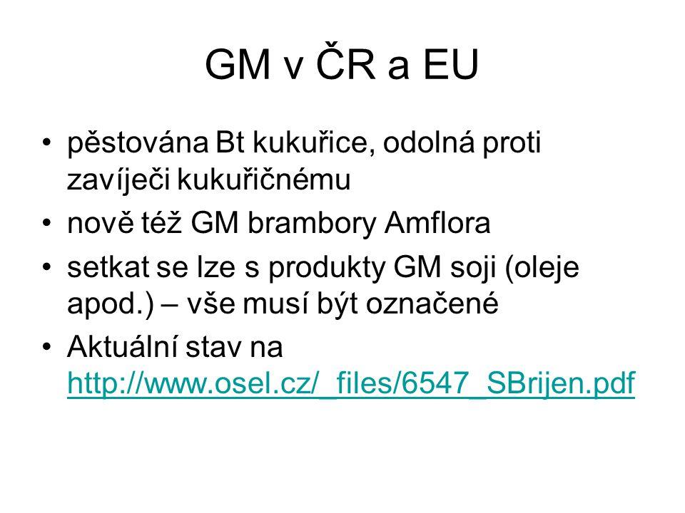 GM v ČR a EU pěstována Bt kukuřice, odolná proti zavíječi kukuřičnému nově též GM brambory Amflora setkat se lze s produkty GM soji (oleje apod.) – vš