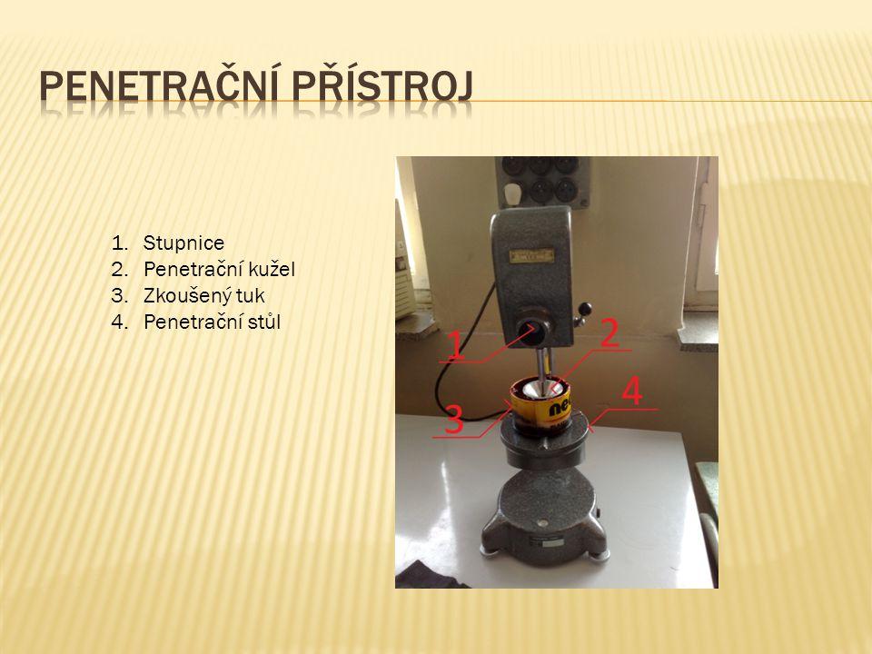 1.Stupnice 2.Penetrační kužel 3.Zkoušený tuk 4.Penetrační stůl