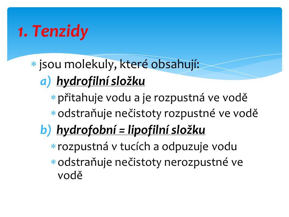  jsou molekuly, které obsahují: a)hydrofilní složku  přitahuje vodu a je rozpustná ve vodě  odstraňuje nečistoty rozpustné ve vodě b)hydrofobní = l