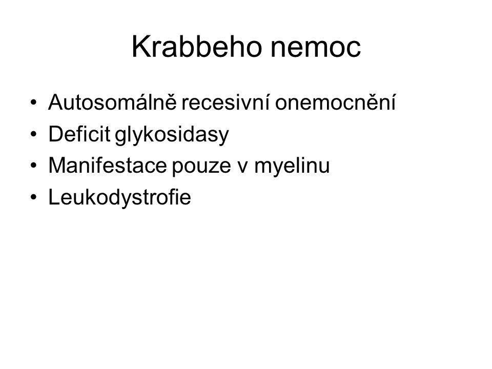Krabbeho nemoc Autosomálně recesivní onemocnění Deficit glykosidasy Manifestace pouze v myelinu Leukodystrofie