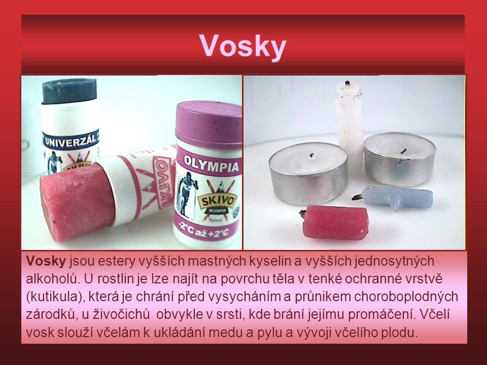 Vosky Vosky jsou estery vyšších mastných kyselin a vyšších jednosytných alkoholů. U rostlin je lze najít na povrchu těla v tenké ochranné vrstvě (kuti