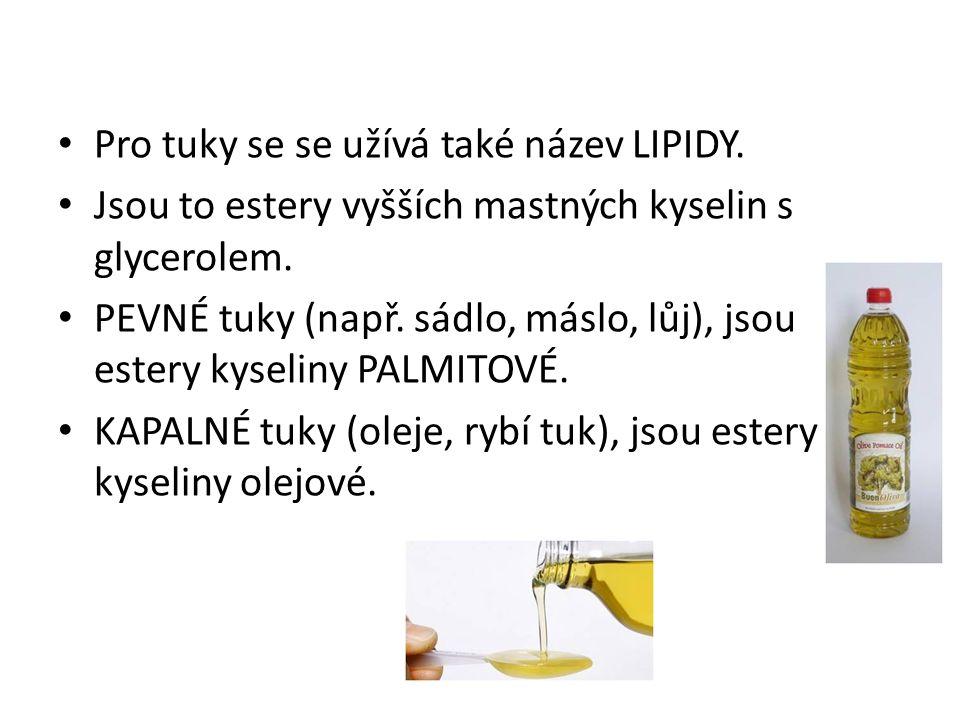 Pro tuky se se užívá také název LIPIDY. Jsou to estery vyšších mastných kyselin s glycerolem. PEVNÉ tuky (např. sádlo, máslo, lůj), jsou estery kyseli