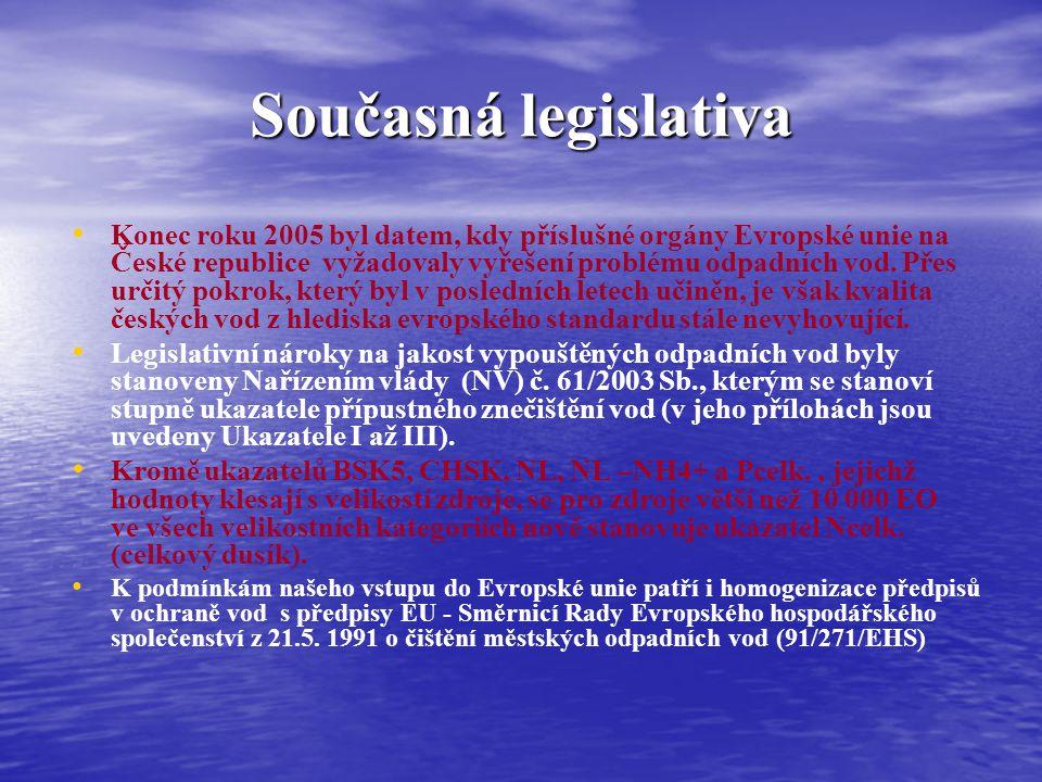 Současná legislativa Konec roku 2005 byl datem, kdy příslušné orgány Evropské unie na České republice vyžadovaly vyřešení problému odpadních vod. Přes