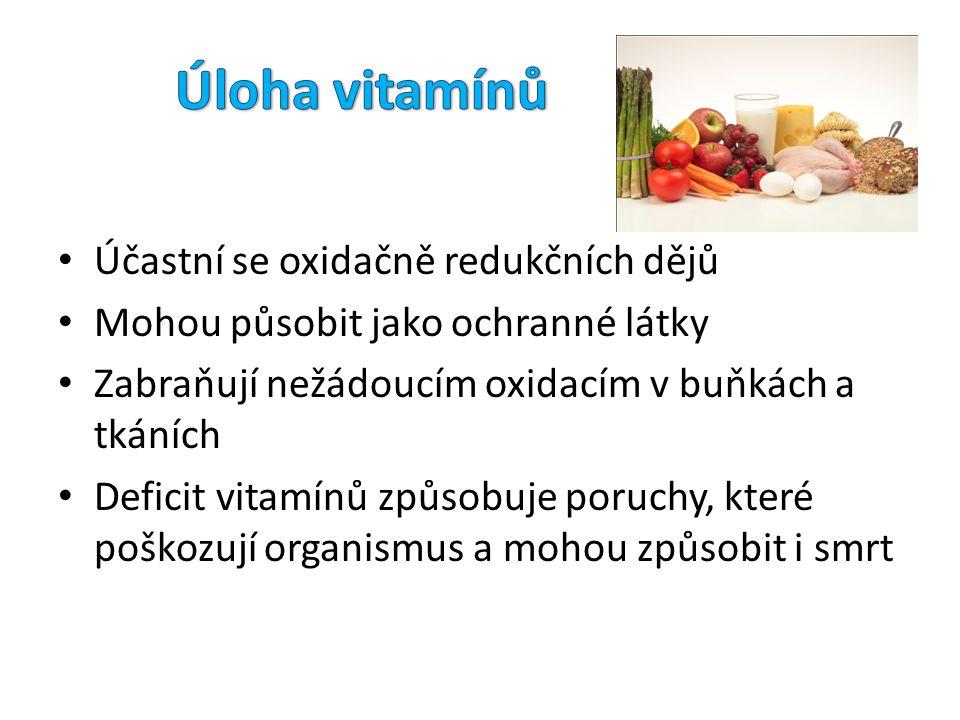 Účastní se oxidačně redukčních dějů Mohou působit jako ochranné látky Zabraňují nežádoucím oxidacím v buňkách a tkáních Deficit vitamínů způsobuje por
