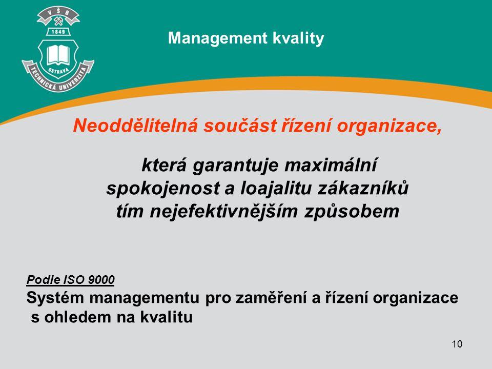10 Neoddělitelná součást řízení organizace, která garantuje maximální spokojenost a loajalitu zákazníků tím nejefektivnějším způsobem Management kvali