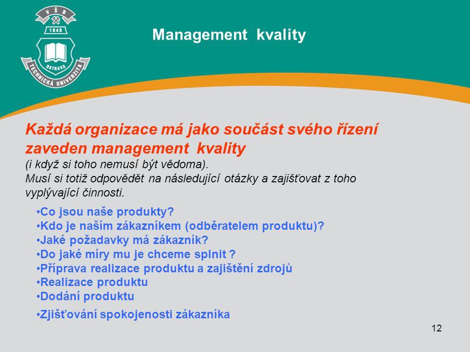 12 Každá organizace má jako součást svého řízení zaveden management kvality (i když si toho nemusí být vědoma). Musí si totiž odpovědět na následující