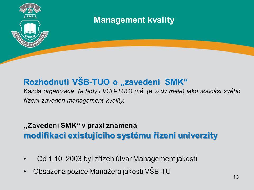"""13 Rozhodnutí VŠB-TUO o """"zavedení SMK"""" Každá organizace (a tedy i VŠB-TUO) má (a vždy měla) jako součást svého řízení zaveden management kvality. modi"""