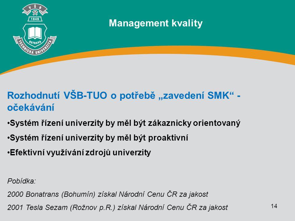 """14 Rozhodnutí VŠB-TUO o potřebě """"zavedení SMK"""" - očekávání Systém řízení univerzity by měl být zákaznicky orientovaný Systém řízení univerzity by měl"""
