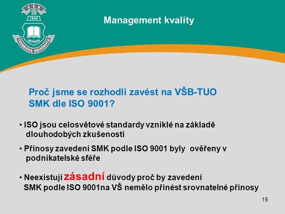 15 ISO jsou celosvětové standardy vzniklé na základě dlouhodobých zkušeností Přínosy zavedení SMK podle ISO 9001 byly ověřeny v podnikatelské sféře Ne