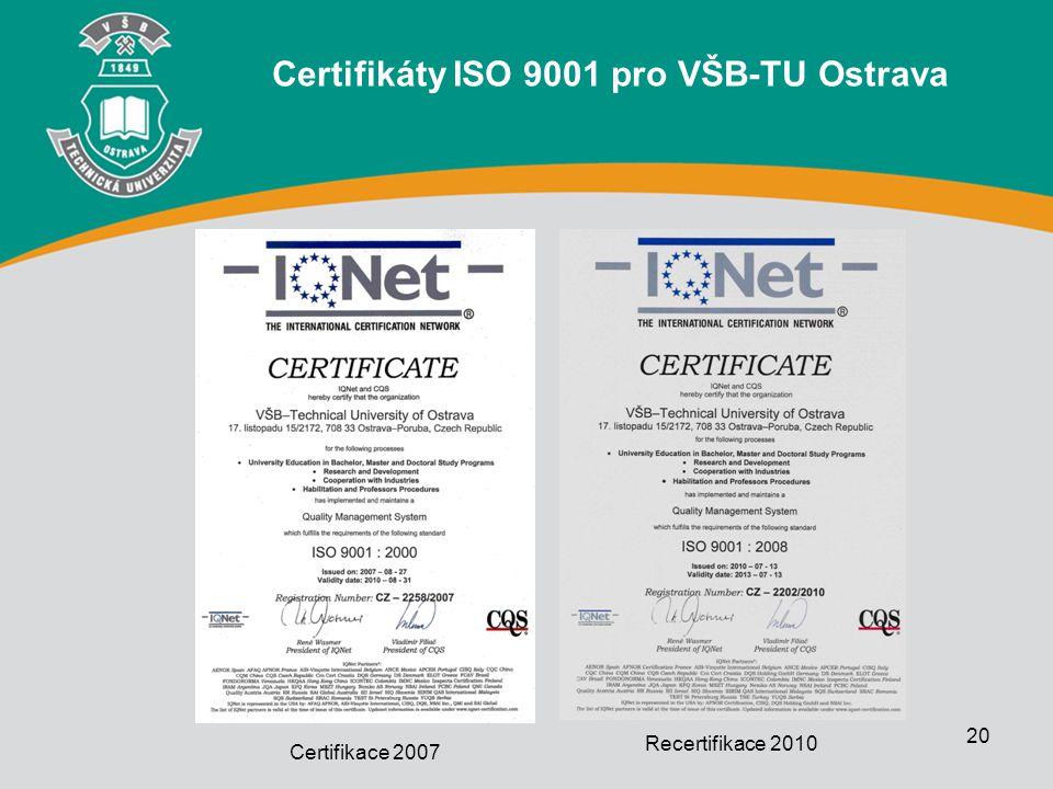20 Certifikace 2007 Recertifikace 2010 Certifikáty ISO 9001 pro VŠB-TU Ostrava