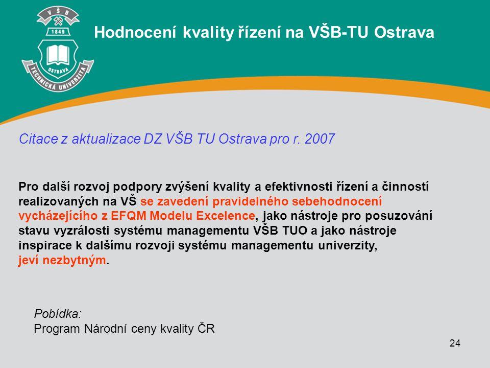 24 Hodnocení kvality řízení na VŠB-TU Ostrava Citace z aktualizace DZ VŠB TU Ostrava pro r. 2007 Pro další rozvoj podpory zvýšení kvality a efektivnos