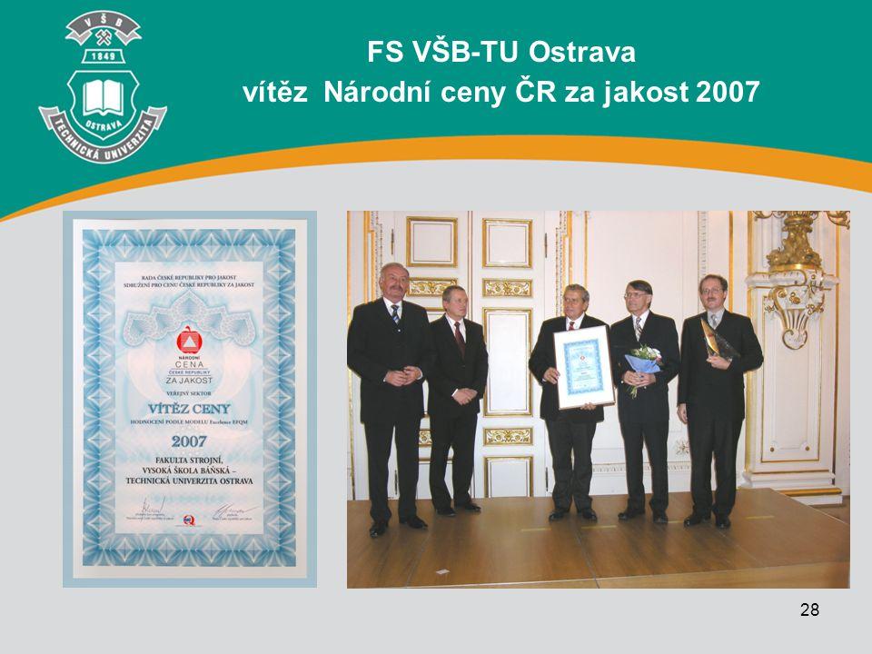 28 FS VŠB-TU Ostrava vítěz Národní ceny ČR za jakost 2007