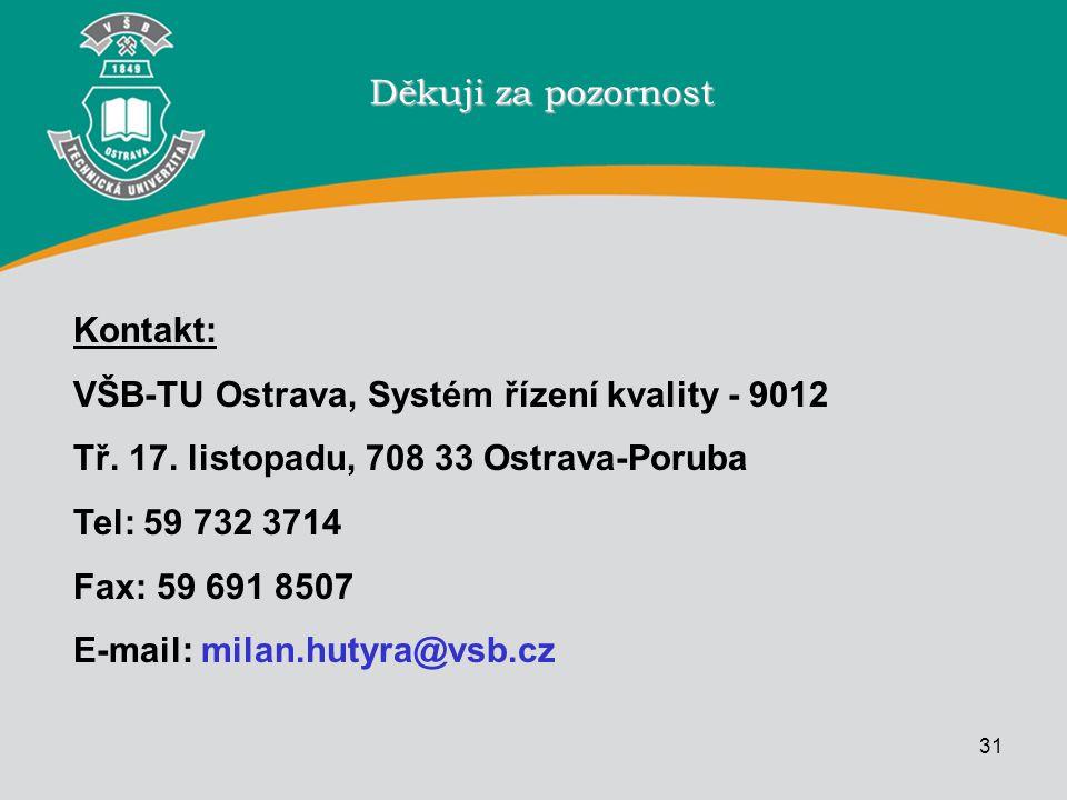 31 Děkuji za pozornost Kontakt: VŠB-TU Ostrava, Systém řízení kvality - 9012 Tř. 17. listopadu, 708 33 Ostrava-Poruba Tel: 59 732 3714 Fax: 59 691 850