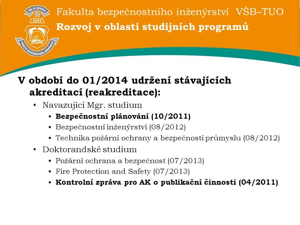 Fakulta bezpečnostního inženýrství VŠB–TUO Rozvoj v oblasti studijních programů V období do 01/2014 udržení stávajících akreditací (reakreditace): Nav