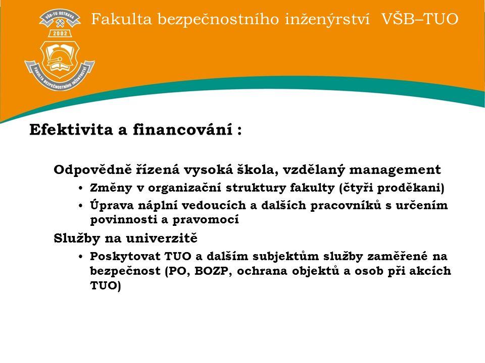 Fakulta bezpečnostního inženýrství VŠB–TUO Efektivita a financování : Odpovědně řízená vysoká škola, vzdělaný management Změny v organizační struktury