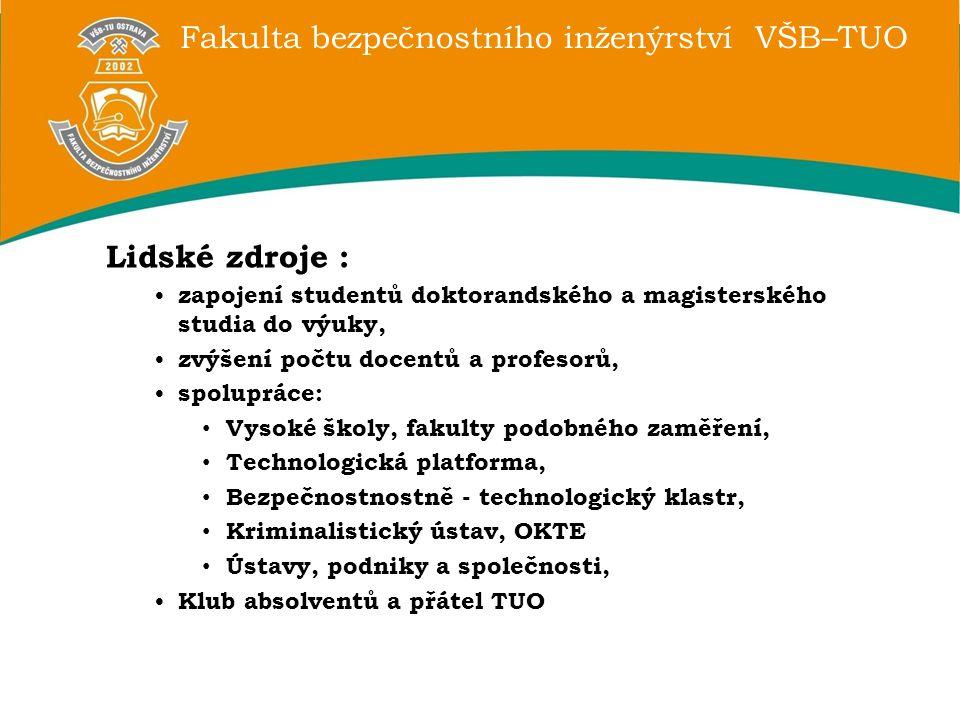 Fakulta bezpečnostního inženýrství VŠB–TUO Lidské zdroje : zapojení studentů doktorandského a magisterského studia do výuky, zvýšení počtu docentů a p