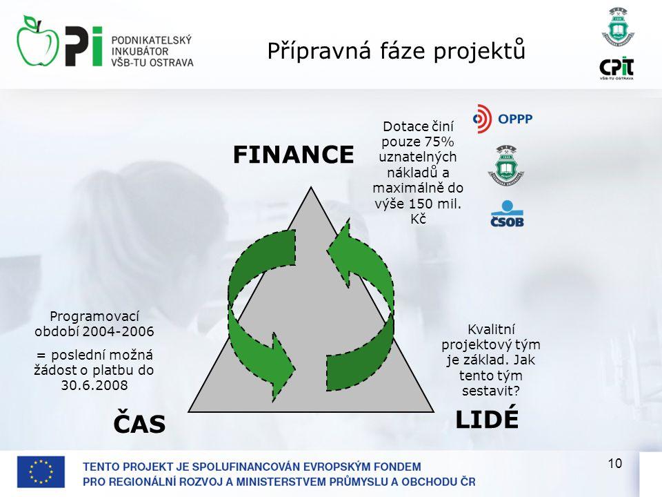 10 ČAS LIDÉ FINANCE Programovací období 2004-2006 = poslední možná žádost o platbu do 30.6.2008 Dotace činí pouze 75% uznatelných nákladů a maximálně do výše 150 mil.