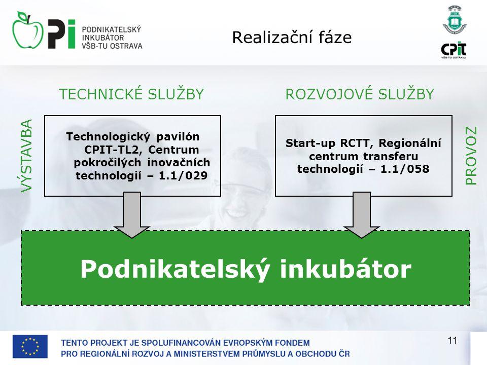 11 Realizační fáze Podnikatelský inkubátor Technologický pavilón CPIT-TL2, Centrum pokročilých inovačních technologií – 1.1/029 Start-up RCTT, Regionální centrum transferu technologií – 1.1/058 TECHNICKÉ SLUŽBYROZVOJOVÉ SLUŽBY VÝSTAVBAPROVOZ