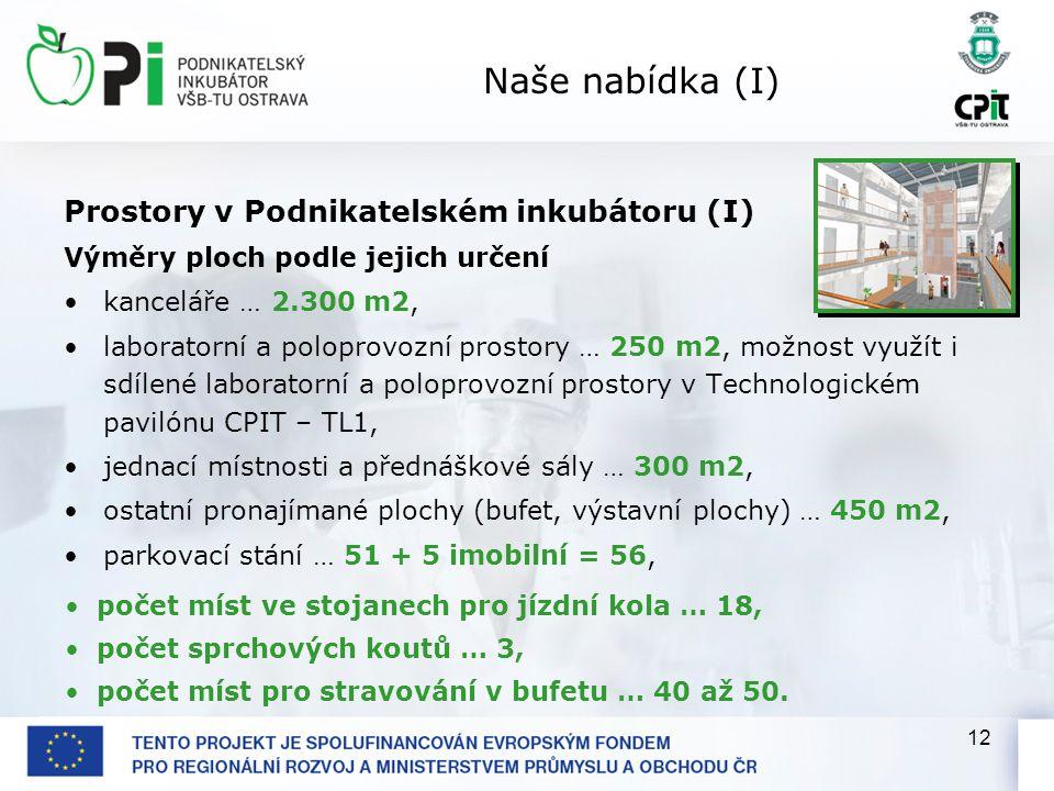 12 Naše nabídka (I) Prostory v Podnikatelském inkubátoru (I) Výměry ploch podle jejich určení kanceláře … 2.300 m2, laboratorní a poloprovozní prostor