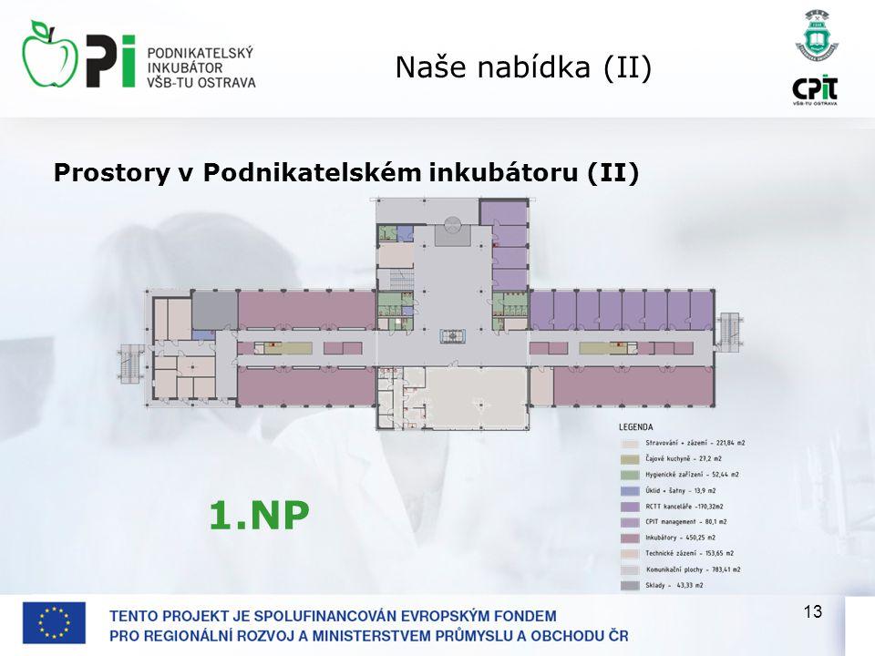 13 Naše nabídka (II) Prostory v Podnikatelském inkubátoru (II) 1.NP