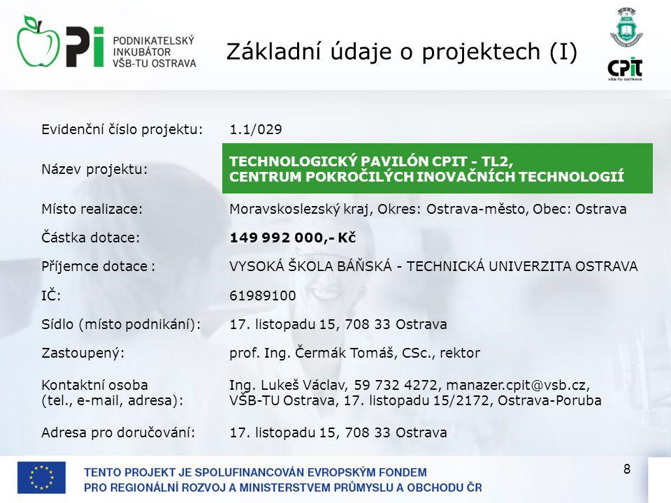 8 Evidenční číslo projektu:1.1/029 Název projektu: TECHNOLOGICKÝ PAVILÓN CPIT - TL2, CENTRUM POKROČILÝCH INOVAČNÍCH TECHNOLOGIÍ Místo realizace:Moravskoslezský kraj, Okres: Ostrava-město, Obec: Ostrava Částka dotace:149 992 000,- Kč Příjemce dotace :VYSOKÁ ŠKOLA BÁŇSKÁ - TECHNICKÁ UNIVERZITA OSTRAVA IČ:61989100 Sídlo (místo podnikání):17.