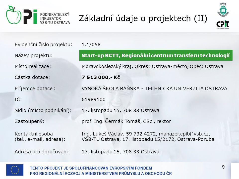 9 Evidenční číslo projektu:1.1/058 Název projektu:Start-up RCTT, Regionální centrum transferu technologií Místo realizace:Moravskoslezský kraj, Okres: