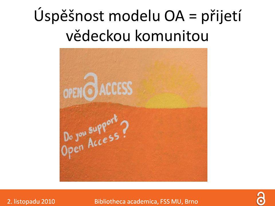 Úspěšnost modelu OA = přijetí vědeckou komunitou