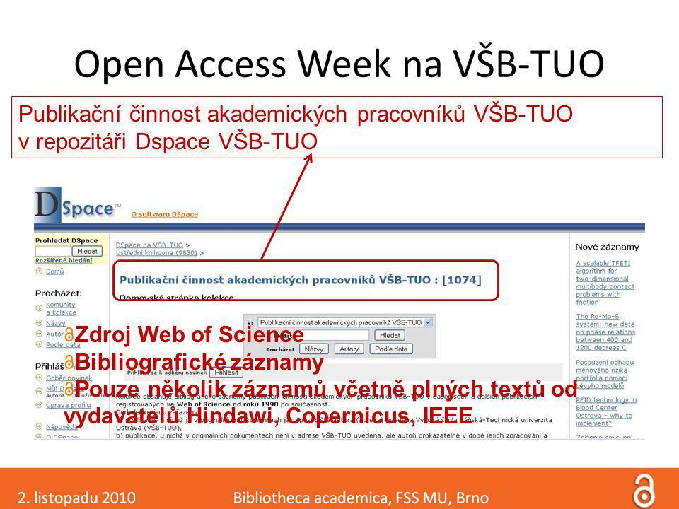 Open Access Week na VŠB-TUO Publikační činnost akademických pracovníků VŠB-TUO v repozitáři Dspace VŠB-TUO Zdroj Web of Science Bibliografické záznamy Pouze několik záznamů včetně plných textů od vydavatelů Hindawi, Copernicus, IEEE