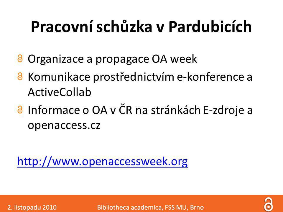 Pracovní schůzka v Pardubicích Organizace a propagace OA week Komunikace prostřednictvím e-konference a ActiveCollab Informace o OA v ČR na stránkách E-zdroje a openaccess.cz http://www.openaccessweek.org