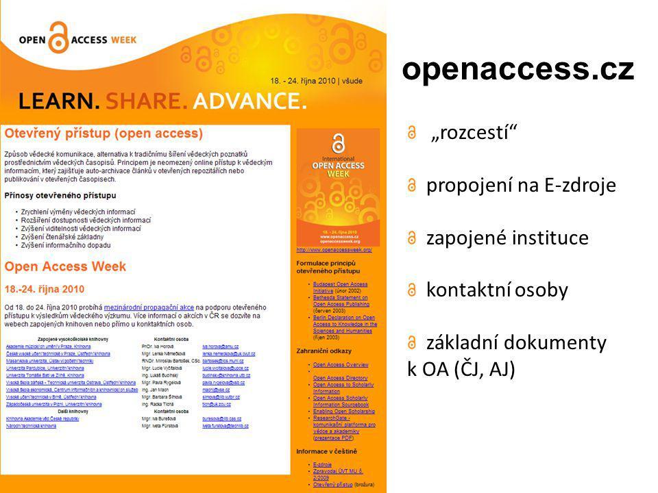 """openaccess.cz """"rozcestí propojení na E-zdroje zapojené instituce kontaktní osoby základní dokumenty k OA (ČJ, AJ)"""
