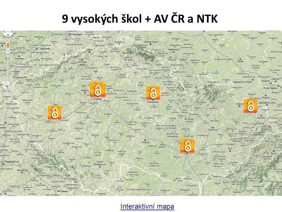 Interaktivní mapa 9 vysokých škol + AV ČR a NTK