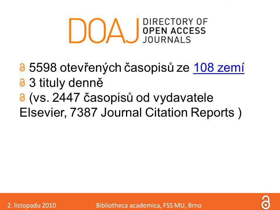 5598 otevřených časopisů ze 108 zemí108 zemí 3 tituly denně (vs. 2447 časopisů od vydavatele Elsevier, 7387 Journal Citation Reports )