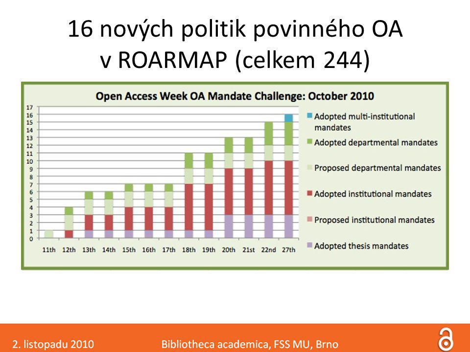 16 nových politik povinného OA v ROARMAP (celkem 244)