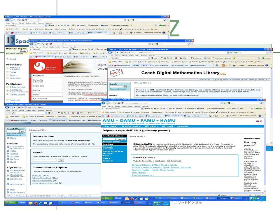 21.10.2009 Systémy pro zpřístupňování eVŠKP 2009 6 DSPACE CZ Jednotlivé instalace