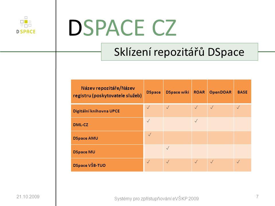 21.10.2009 Systémy pro zpřístupňování eVŠKP 2009 7 DSPACE CZ Sklízení repozitářů DSpace Název repozitáře/Název registru (poskytovatele služeb) DSpaceDSpace wikiROAROpenDOARBASE Digitální knihovna UPCE  DML-CZ   DSpace AMU  DSpace MU  DSpace VŠB-TUO 