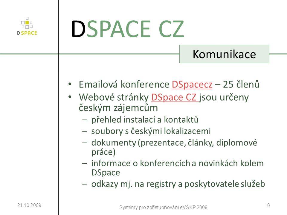 Emailová konference DSpacecz – 25 členůDSpacecz Webové stránky DSpace CZ jsou určeny českým zájemcůmDSpace CZ –přehled instalací a kontaktů –soubory s českými lokalizacemi –dokumenty (prezentace, články, diplomové práce) –informace o konferencích a novinkách kolem DSpace –odkazy mj.