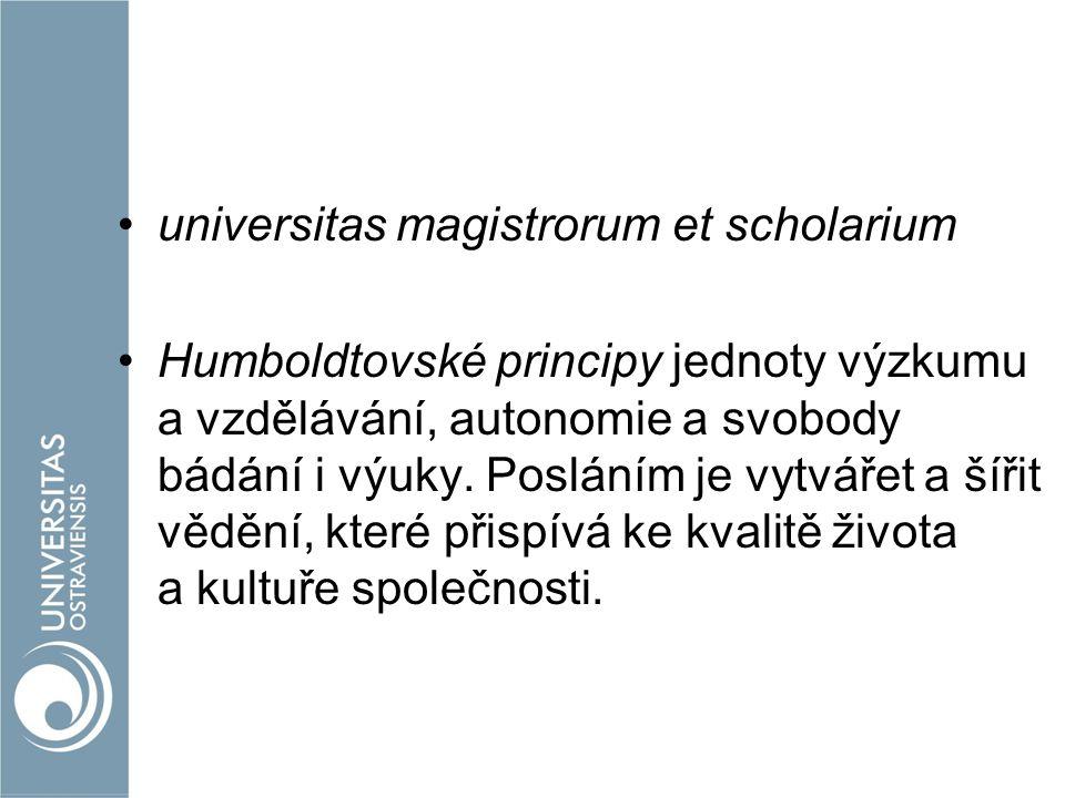 universitas magistrorum et scholarium Humboldtovské principy jednoty výzkumu a vzdělávání, autonomie a svobody bádání i výuky. Posláním je vytvářet a
