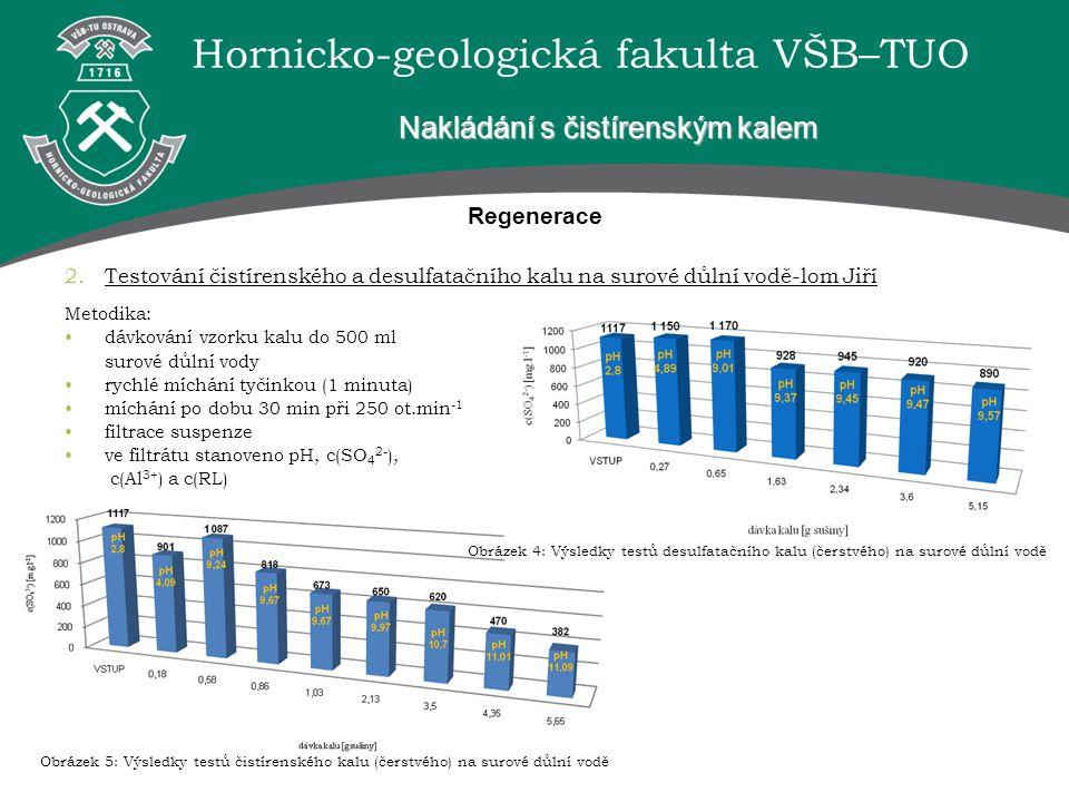 Hornicko-geologická fakulta VŠB–TUO Regenerace 2.Testování čistírenského a desulfatačního kalu na surové důlní vodě-lom Jiří Nakládání s čistírenským