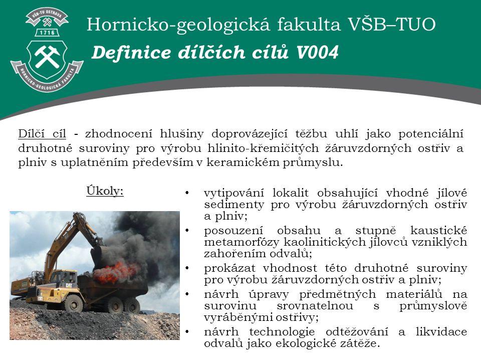 Hornicko-geologická fakulta VŠB–TUO Definice dílčích cílů V 004 Dílčí cíl - zhodnocení hlušiny doprovázející těžbu uhlí jako potenciální druhotné suroviny pro výrobu hlinito-křemičitých žáruvzdorných ostřiv a plniv s uplatněním především v keramickém průmyslu.