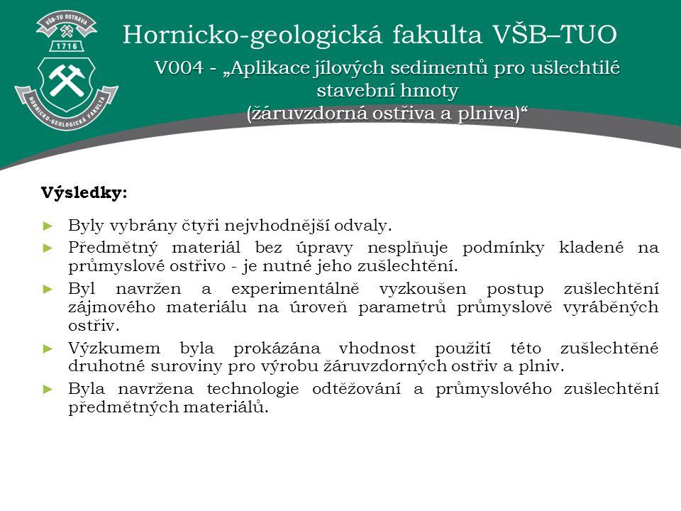 """Hornicko-geologická fakulta VŠB–TUO V004 - """"Aplikace jílových sedimentů pro ušlechtilé stavební hmoty (žáruvzdorná ostřiva a plniva) Výsledky: ► Byly vybrány čtyři nejvhodnější odvaly."""