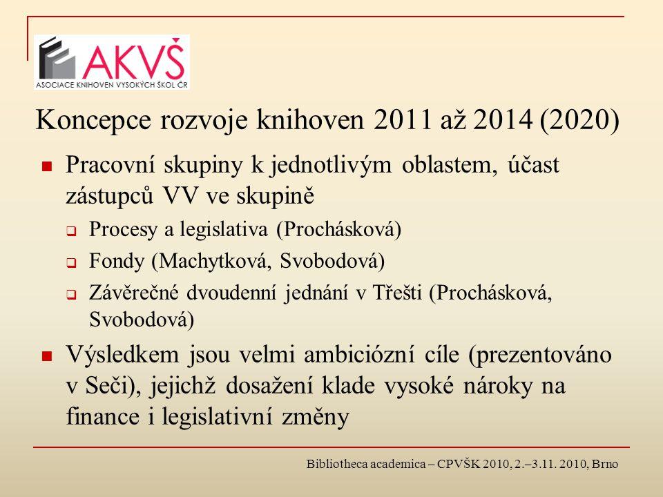 Koncepce rozvoje knihoven 2011 až 2014 (2020) Pracovní skupiny k jednotlivým oblastem, účast zástupců VV ve skupině  Procesy a legislativa (Prochásková)  Fondy (Machytková, Svobodová)  Závěrečné dvoudenní jednání v Třešti (Prochásková, Svobodová) Výsledkem jsou velmi ambiciózní cíle (prezentováno v Seči), jejichž dosažení klade vysoké nároky na finance i legislativní změny Bibliotheca academica – CPVŠK 2010, 2.–3.11.